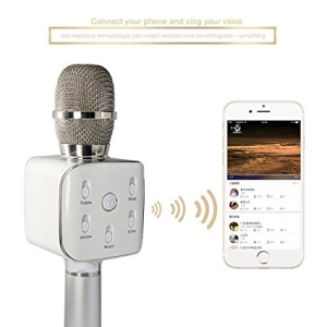 Q7S Portable Wireless Bluetooth Karaoke Handheld Condenser Microphone with KTV Singing Recorder - Silver