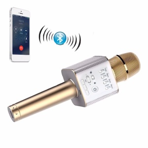 Q9 Portable Wireless Bluetooth Karaoke KTV Microphone Speaker for iPhone Samsung - Gold Color