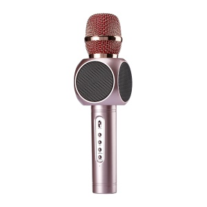E103 Karaoke Player Party Home KTV Wireless Microphone Singing Record Bluetooth Speaker - Rose Gold