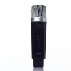 J-012 Mini Wireless Bluetooth 3.0 Karaoke Microphone with 3.5mm Aux-in for iPhone Samsung - Black