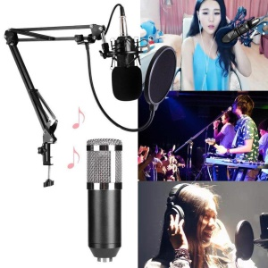 BM-800 Professional Condenser Sound Microphone with Anti-Shake Mount for Studio, Radio, Broadcast - Black