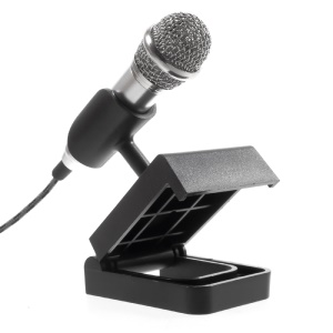 Voice Recording Chatting Mini Microphone Mic with Holder Stand for Mobile Phone Laptop Notebook - Silver
