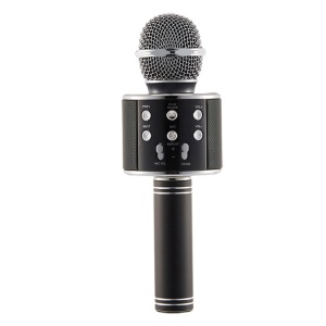 WS-858 5W Mobile Phone Wireless Bluetooth Microphone Karaoke Recorder, Support TF Card / AUX-in - Black