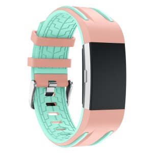 Dual-color Silicone Soft Watch Band for Fitbit Charge 2 - Pink + Cyan