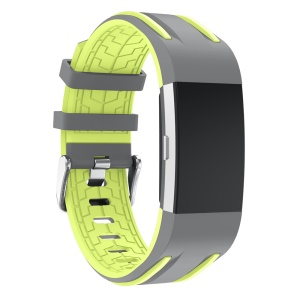Bi-color Flexible Silicone Watch Strap Replacement for Fitbit Charge 2 - Grey + Green