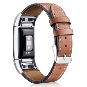 For Fitbit Charge 2 Genuine Leather Watch Band Replacement - Brown