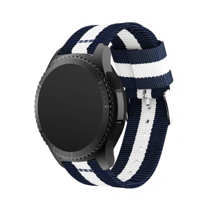 Woven Nylon Adjustable Replacement Watch Band for Samsung Gear S3 Frontier / Classic - Dark Blue / White