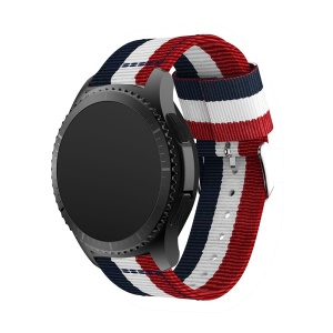 Adjustable Woven Nylon Replacement Watch Strap for Samsung Gear S3 Frontier / Classic - Dark Blue / White / Red