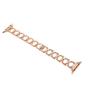 Letter D Link Chain Wrist Watch Bracelet for Apple Watch Series 3 Series 2 Series 1 38mm - Rose Gold Color
