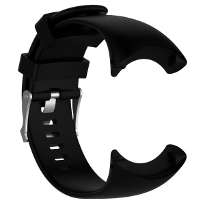 Flexible Silicone Watch Strap with Spring Bars and Screws for Suunto Core All Black - Black
