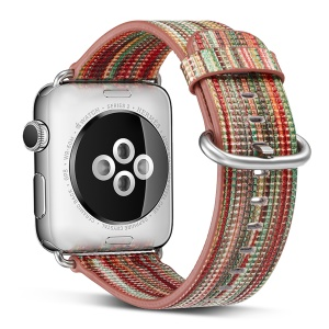 Genuine Leather Patterned Watch Strap Replacement for Apple Watch Series 4 44mm / Series 3/2/1 42mm - Style A