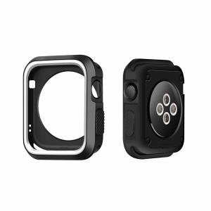 Dual-color Soft Silicone Watch Case for Apple Watch Series 3/2/1 38mm - Black + White