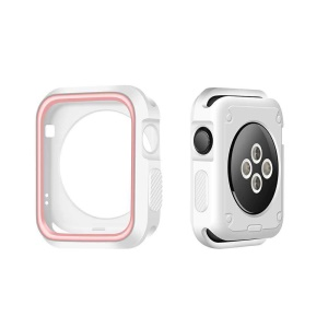 Double Colors Soft Silicone Watch Case Protector for Apple Watch Series 3/2/1 38mm - White + Pink