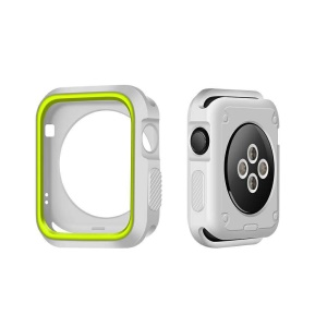 Bi-color Flexible Silicone Watch Case Replacement for Apple Watch Series 3/2/1 42mm - White + Green