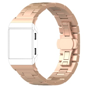 Solid Stainless Steel Link Watch Band Replacement for Fitbit Ionic - Rose Gold Color
