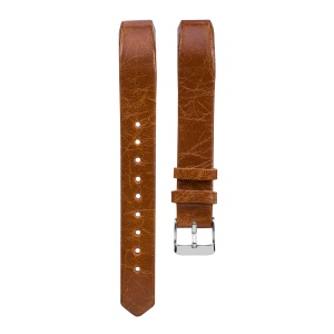Classic Pin Buckle Genuine Leather Smart Watch Strap Replacement for Fitbit Alta/Alta HR - Light Brown