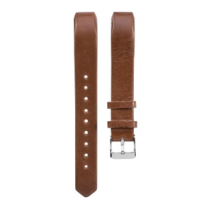 For Fitbit Alta/Alta HR Genuine Leather Watch Band with Classic Pin Buckle - Dark Brown