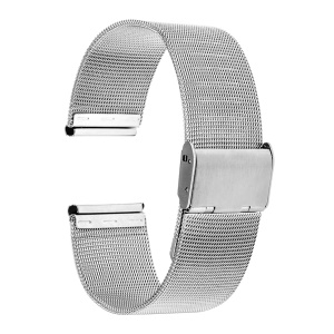 Super Thin Mesh Stainless Steel Unisex Watchband Strap - Silver Color / 20mm