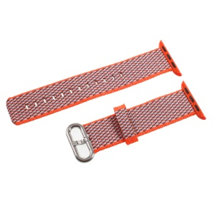 Metal Buckle Nylon Watch Band Strap for Apple Watch Series 3/2/1 38mm - Orange