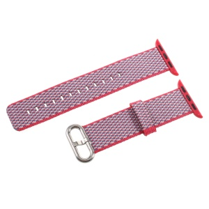 Metal Buckle Nylon Watch Strap Band Replacement for Apple Watch Series 4 40mm, Series 3 / 2 / 1 38mm - Red