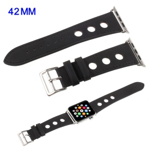 Metal Buckle PU Leather Watch Band for Apple Watch Series 4 44mm, Series 4 44mm / Series 3/2/1 42mm - Black
