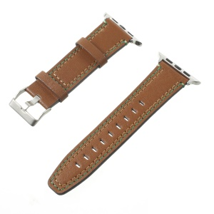 Double Stitches Genuine Leather Smart Watch Band for Apple Watch Series 4 44mm / Series 3 / 2 / 1 42mm - Coffee