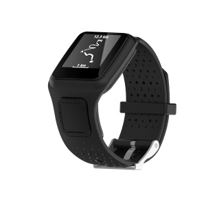 Soft Silicone Wrist Watch Band Strap for TomTom Multi-sport Runner 1 - Black