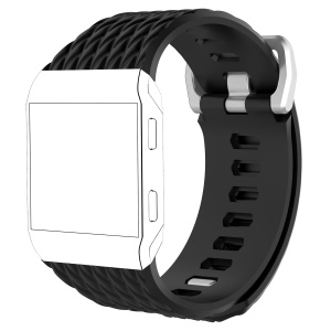 Dragon Scale Texture Soft Silicone Watch Band for Fitbit Ionic - Black, Size: S