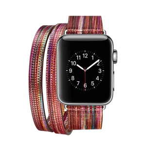 Remplacement De Bande De Montre En Cuir Tour Double Pour Apple Watch Series 3/2/1 42mm - Rouge