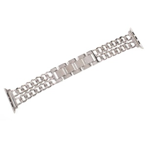XINCUCO Luxus Metall Cowboy Kette Armband Für Apple Watch-Serie 3/2/1 38mm - Silberfarbe