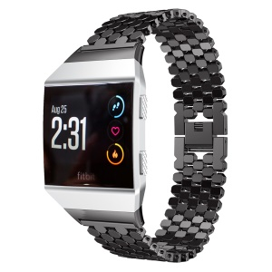 Stainless Steel Hexagon Mesh Watchband with Interlock Clasp for Fitbit Ionic - Black
