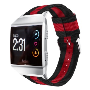 Vertical Stripes Nylon Sport Watchband for Fitbit Ionic, Width: 22mm - Black/Red