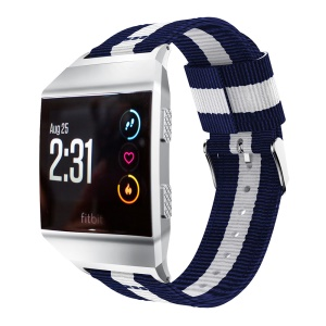 Vertical Stripes Nylon Watch Band Replacement for Fitbit Ionic, Width: 22mm - Blue/White