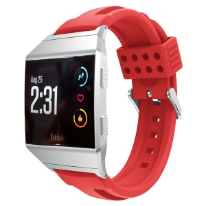22mm Dual-cavity Soft Silicone Watch Replacement Strap + Connector for Fitbit Ionic - Red