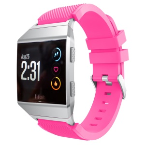 22cm Twill Texture Soft Silicone Watch Band Strap with Connector for Fitbit Ionic - Rose
