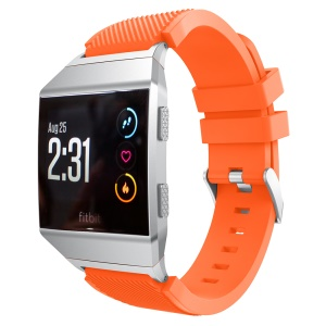 For Fitbit Ionic Twill Texture Silicone Watch Band Replacement with Connector 22mm - Orange