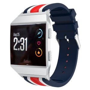 22mm Five Vertical Stripe Soft Silicone Watch Strap + Connector for Fitbit Ionic - Blue / White / Red