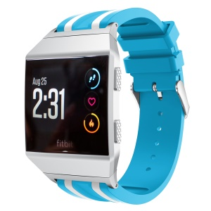 22mm Five Vertical Stripe Soft Silicone Watch Replacement Band + Connector for Fitbit Ionic - Blue / White