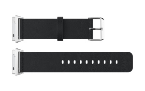 Litchi Texture Genuine Leather Watch Band with Connector for Fitbit Ionic - Black
