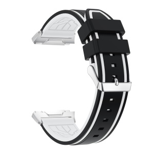 Bi-color Adjustable Silicone Wrist Strap Replacement for Fitbit Ionic - Black / White