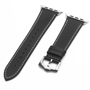 QIALINO Top Layer Cowhide Leather Watch Strap for Apple Watch Series 5 4 44mm /Series 3/2/1 42mm - Black