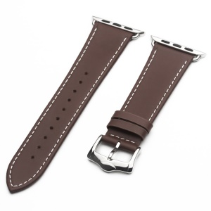 QIALINO Top Layer Cowhide Leather Watch Band Strap for Apple Watch Series 3 Series 2 Series 1 42mm - Coffee