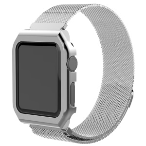 Milanese Wrist Stainless Steel Watch Strap + Watch Frame for Apple Watch Series 3/2/1 38mm - Silver Color