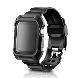 Flexibles TPU Sportuhrarmband Für Apple Watch Serie 2/1 42mm - Schwarz