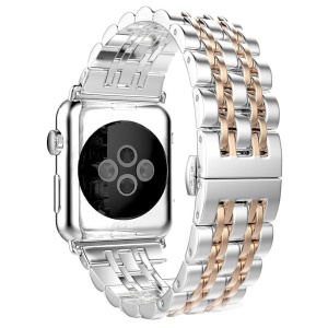 Stainless Steel Watch Band for Apple Watch Series 4 40mm / Series 3 2 1 38mm - Silver / Rose Gold Color