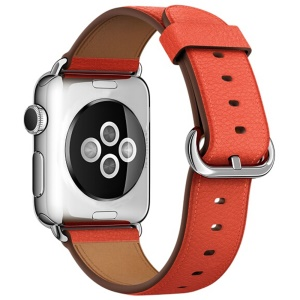 Litchi Texture En Cuir Véritable Montre Bracelet Pour Apple Watch Série 3/2/1 38mm - Orange