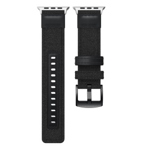 22mm Canvas + Leather Watch Strap + Connector for Apple Watch Series 4 40mm/3/2/1 38mm - Black