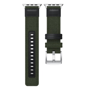 22mm Canvas + Cinturino In Pelle + Connettore Per Apple Watch Serie 3/2/1 38mm - Verde