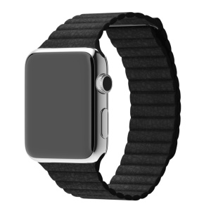 Magnetic Leather Watch Band for Apple Watch Series 3/2/1 42mm - Black