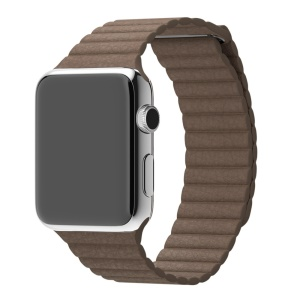 Magnetic Leather Watch Wrist Watch Replacement Strap for Apple Watch Series 3/2/1 42mm - Coffee